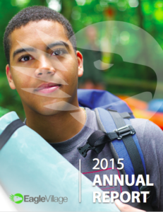 The cover of the 2015 Annual Impact Report for Eagle Village
